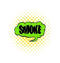 Smoke word icon comics style vector