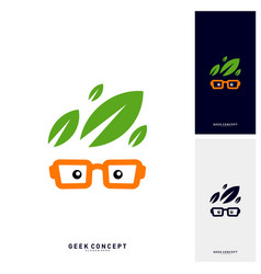 social geek with leaf logo concept nature geek vector image