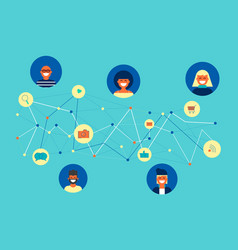 Social network friend group online concept design vector
