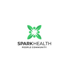 spark health people community logo design template vector image