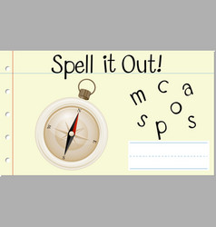Spell english word compass vector
