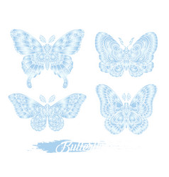 stylized blue butterflies isolated on white vector image