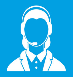Support phone operator in headset icon white vector