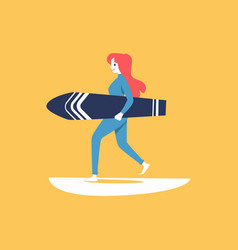 surfer woman character carrying surfboard flat vector image