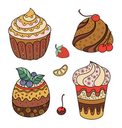 sweets and fruits set vector image