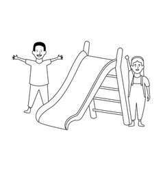 swing wooden playground game in black and white vector image