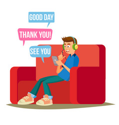 teen boy teen boy texting with cell phone vector image