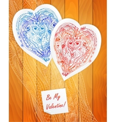 Template design for love card doodle lace heart vector
