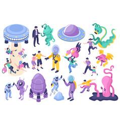 Ufo and aliens cartoon set vector