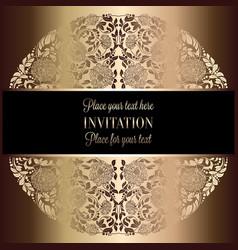vintage baroque wedding invitation template vector image