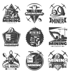 Vintage Mining Labels Set vector