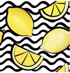 wave tile pattern tropical fruit lemon ornamental vector image