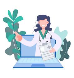 Woman doctor making telemedicine online vector