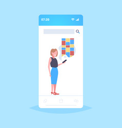 woman holding cellphone using notes digital online vector image