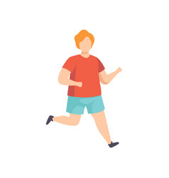 young fat man running obesity man wearing sports vector image