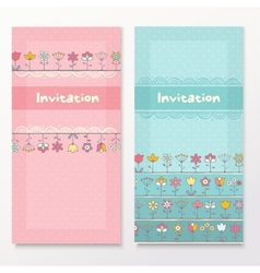 Baby shower cards with funny flowers vector image