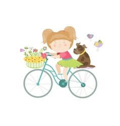 Cute beautiful girl in dress rides a bike vector image vector image