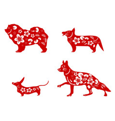 chinese red dogs paper cut vector image