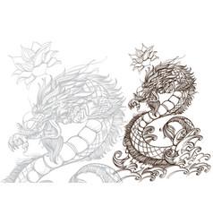 contour image of dragon zodiac animal sign vector image