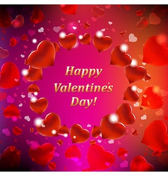 Happy valentines day card with bokeh vector