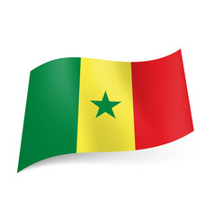 national flag of senegal green yellow and red vector image vector image