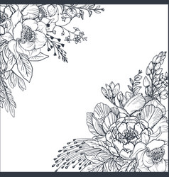 floral backgrounds with hand drawn flowers and vector image vector image