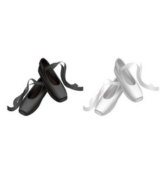 Realistic detailed ballet black and white pointe vector