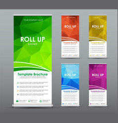set of roll up banner for business with abstract vector image