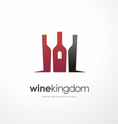 Wine bottle symbol with glasses in negative space vector image vector image