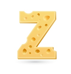 Z cheese letter Symbol isolated on white vector image