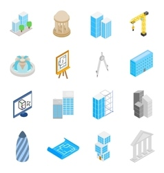 Architecture Icons set isometric 3d style vector image