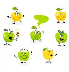 cartoon apple characters vector image vector image