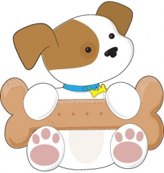 cute puppy and snack vector image vector image