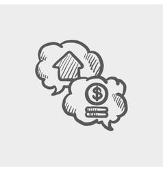 Housing bank finance sketch icon vector image