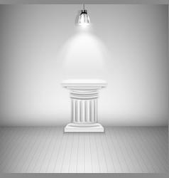 Illuminated Blank Pedestal In Gallery vector image