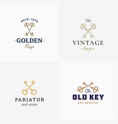 retro keys set abstract signs symbols or vector image