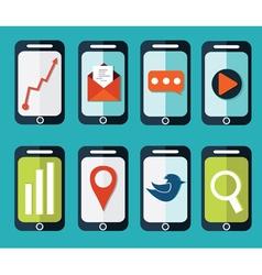 set of flat smartphones designs vector image vector image