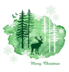Watercolor Christmas card vector image vector image