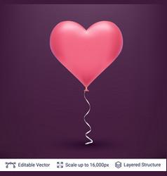 3d heart shaped air balloon vector