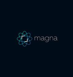 Abstract science atom logo icon design modern vector