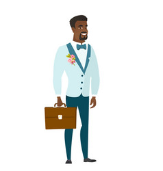 african-american groom holding briefcase vector image