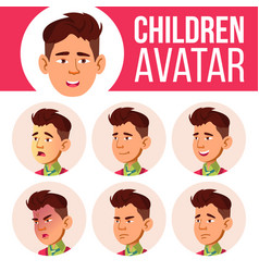 asian boy avatar set kid high school face vector image