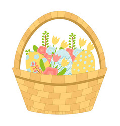 basket with easter eggs and spring flowers vector image
