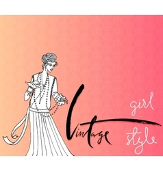 Beautiful fashion woman Retro style Vintage vector image