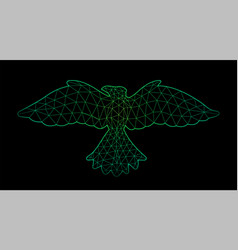 beautiful low poly art with bird silhouette vector image