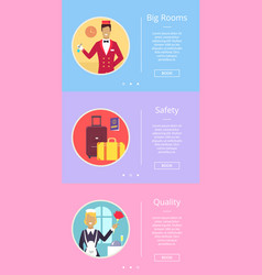 Big rooms safety and quality vector