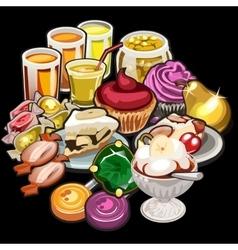 Big set juices candy desserts vector