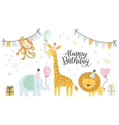 birthday set cute cartoon vector image