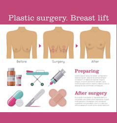 breast lift plastic surgery vector image