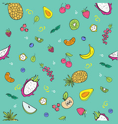 bright seamless pattern with doodle style fruits vector image